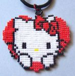 Hello Kitty Pendant by BeadedImagination
