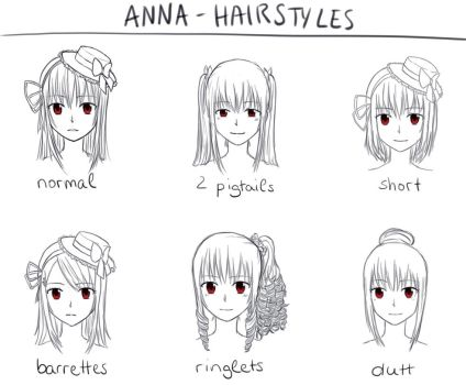 Anna Kushina-different hairstyles by Alecil