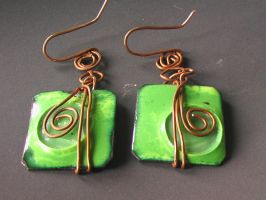 Square-Shaped Green Enamel on Red-Copper Earrings by Barah-Art