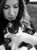 A girl and her cat by PinEyedGirl