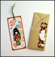 Bookmark - Little Japanese Doll - Brown Green by SuniMam