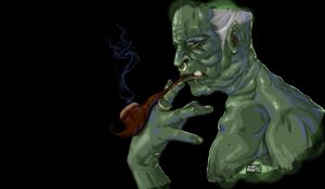 Old Smoking Orc by gundreamalita