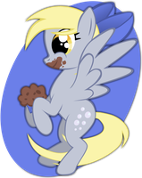 Derpy and the chocolte muffin by rhubarb-leaf