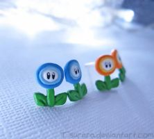 Super Mario World Ice and Fire Flower earrings by Tsurera