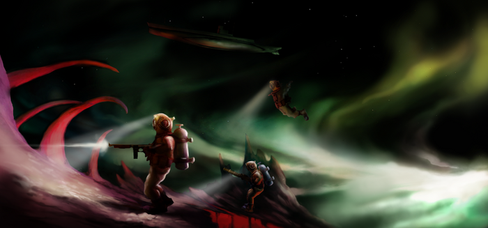 Tales from the Void Art - marines landing by JakobHansson