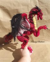 Crimson and Black Needle felted Dragon by Tammysoul