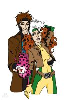 Gambit and Rogue by BlitheFool
