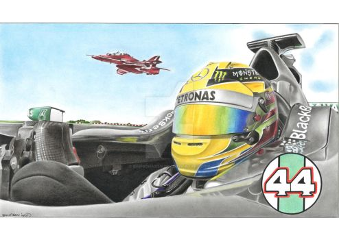 Lewis Hamilton vs Red Arrow Fighter Jet by SIMPSONARTISTRY
