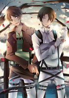 Shingeki no Kyojin - Eren and Levi by Squ-chan