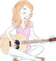 Girl with a guitar by subspacebabe