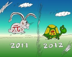 Binary Options Caricature Yuan Tortoise and Hare by optionsclickblogart