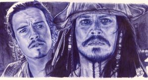 Ballpoint pen drawing: Pirates of the Caribbean by chaseroflight
