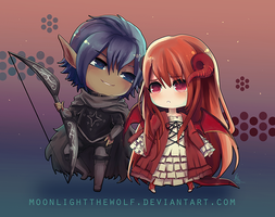 Chibi Gaerith and Elwyn by MoonlightTheWolf