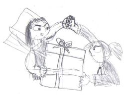 MY present -rough sketch- by supernanny191