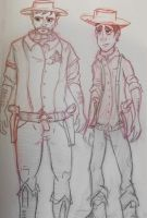 Cowboys, character sketches by C-Sampson