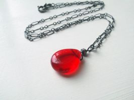 Red Pressed Czech Glass -Oxidized Silver Pendant by QuintessentialArts