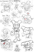 .the many faces of IMPMON. by PatchworkedHeart