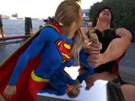 Supergirl demonstrates her strength in public by DahriAlGhul