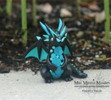 Black and Teal Spotted Dragon Sculpture by MiniMythicalMonsters