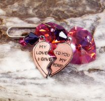 Fuchsia Heart Earrings by Aranwen