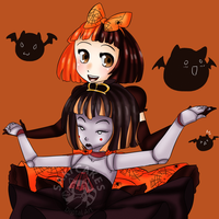 .::Patsy and Hally::. Happy Halloween Everyone by SakiCakes
