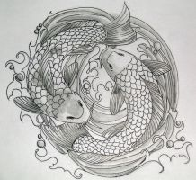Dancing Koi Tattoo by dvampyrelestat