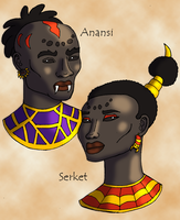 Anansi and Serket Portraits by DaBrandonSphere