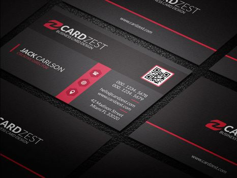 Stylish Black Red Corporate Business Card Template by mengloong