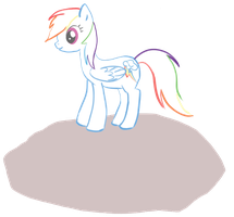 rainbow dash! on a rock? by TinyPinkTampon