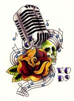 50's Mic ft.Rose and Skull by Vicki-Death
