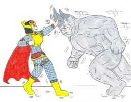 Big Barda vs The Rhino by Jose-Ramiro