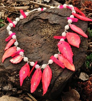 Neon Pink Crystal and Flower Leaf Necklace by Butterflyhornet