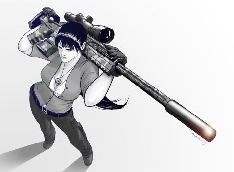 Heather With Her Big-Ass Rifle by bgolden1