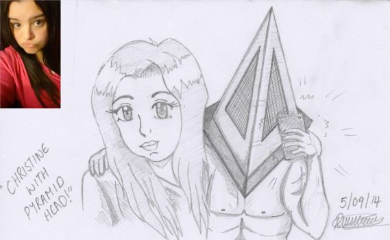 Christine and Pyramid Head taking a selfie by cute-tiger