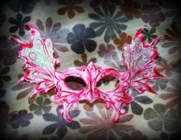Pink Lace and Mylar Winged Mask by ReneeRutherford