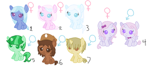 so many adoptable baby ponies! ONE LEFT! by Cookiegirl101