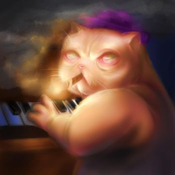The pianist with whiskers + a link for free music! by LittleScythe