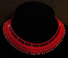Red beaded collar by ladytech