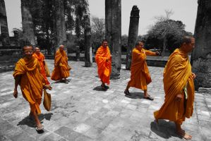 Thailand - Sukhothai Monks by lux69aeterna