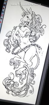 Unicorn tattoo design by KelleeArt
