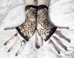 Bette Lace Fingerless Gloves by ZenAndCoffee