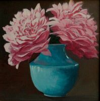 Peonies in a Blue Vase by Caddisman