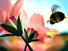 Flowers and Bee by Arteesty