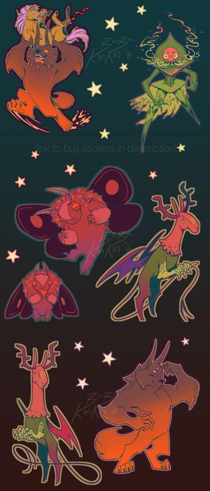 Colourful Cryptids stickers - Link to buy in desc! by BabaKinkin