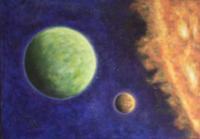 Green Planet and Sun by Joshua-Mozes