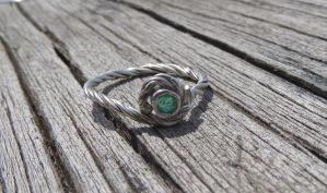 Emerald ring in argentium by whippetgirl