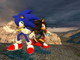 Sonic and Shadow by dirtpeanut