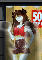 Tohsaka Rin in the Window Display by adi1625