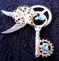 Blue Steampunk Key Pendant by dreamersparadise