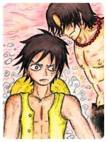 luffy - hold on ace by TigerDRena